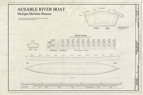Blueprint 1. Plans and offsets Table - Au Sable River Boat, Michigan Maritime Museum, South Haven, Van Buren County, MI