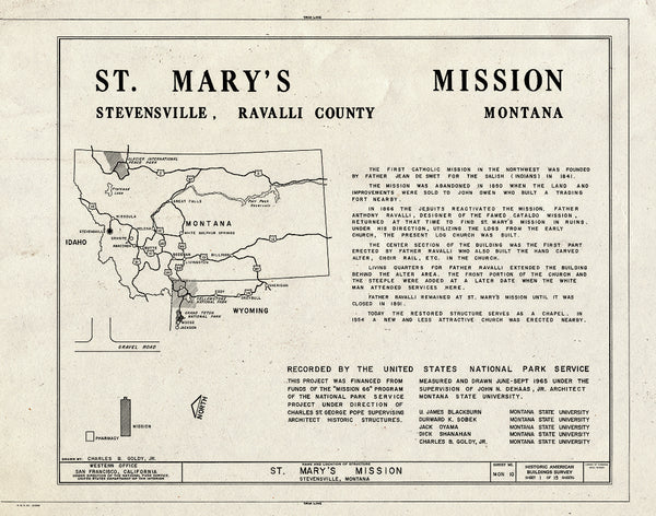 Historic Pictoric : Blueprint HABS Mont,41-STEV,1- (Sheet 1 of 15) - St. Mary's Mission (Roman Catholic), Stevensville, Ravalli County, MT