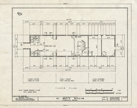 Historic Pictoric : Blueprint HABS Mont,41-STEV,1- (Sheet 2 of 15) - St. Mary's Mission (Roman Catholic), Stevensville, Ravalli County, MT