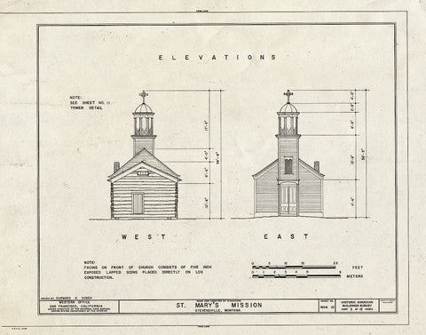 Historic Pictoric : Blueprint HABS Mont,41-STEV,1- (Sheet 3 of 15) - St. Mary's Mission (Roman Catholic), Stevensville, Ravalli County, MT