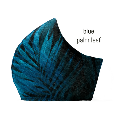 Face Covering in Blue Palm Leaf