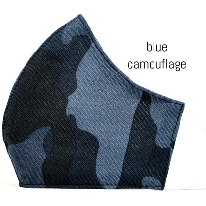 Face Covering in Blue Camouflage