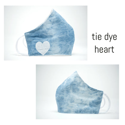 Face Covering in Tie Dye Heart