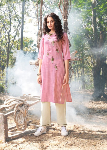 Woven Cotton Kurti with Pant -02