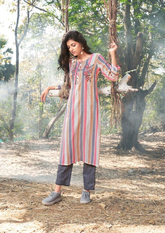 Woven Cotton Kurti with Pant - 03