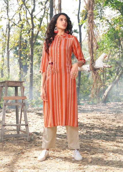 Woven Cotton Kurti with Pant - 06
