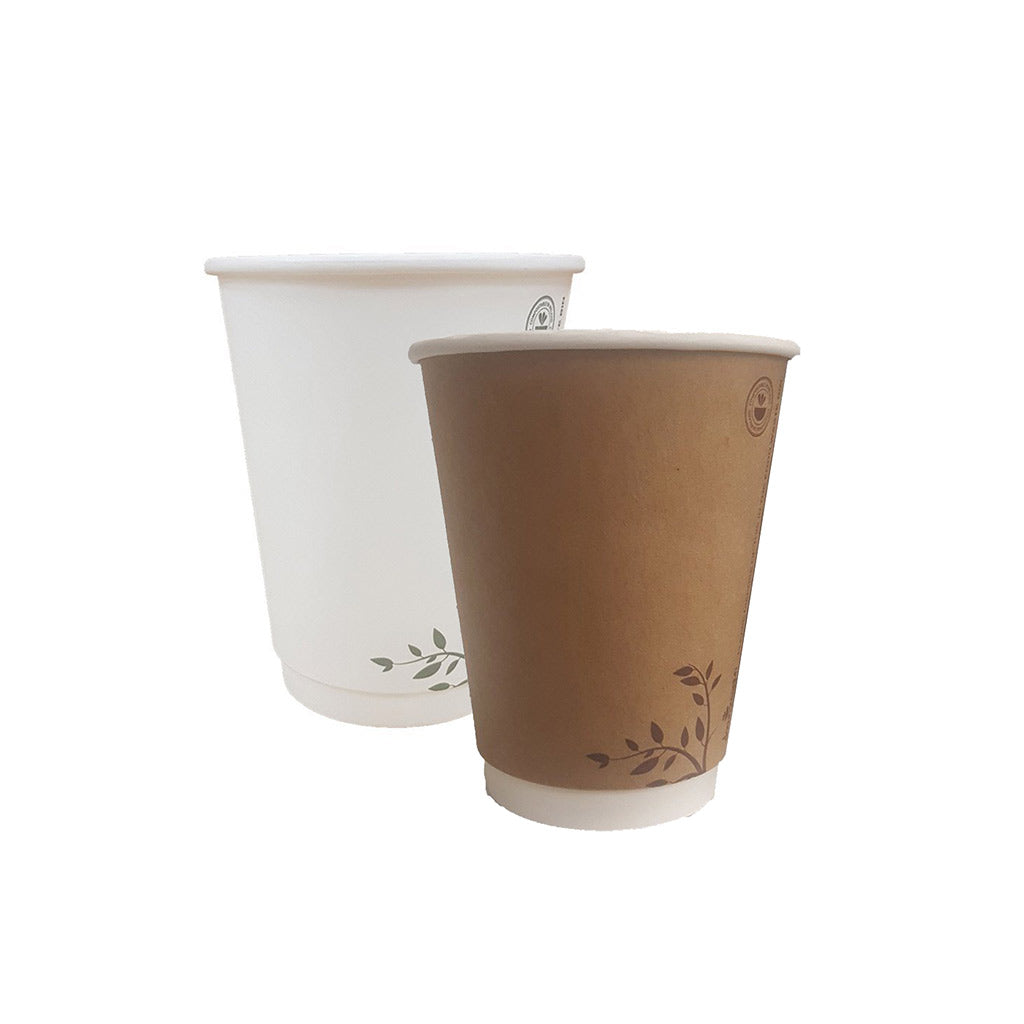 Compostable Cups 12oz Brown and White