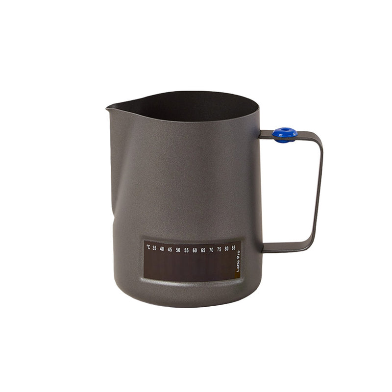 600ml Black Latte Pro Milk Jug With Built In Thermometer