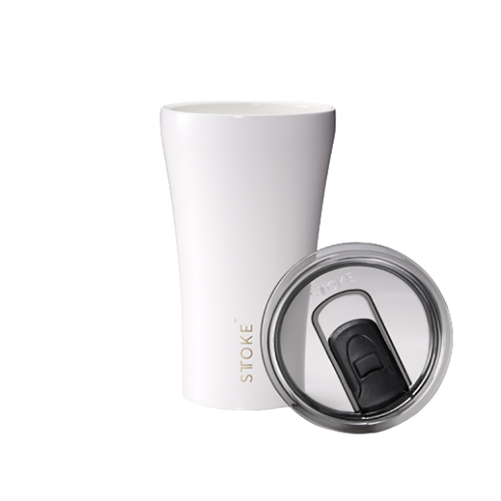 Sttoke 340ml Ceramic Reusable Cup Angel White