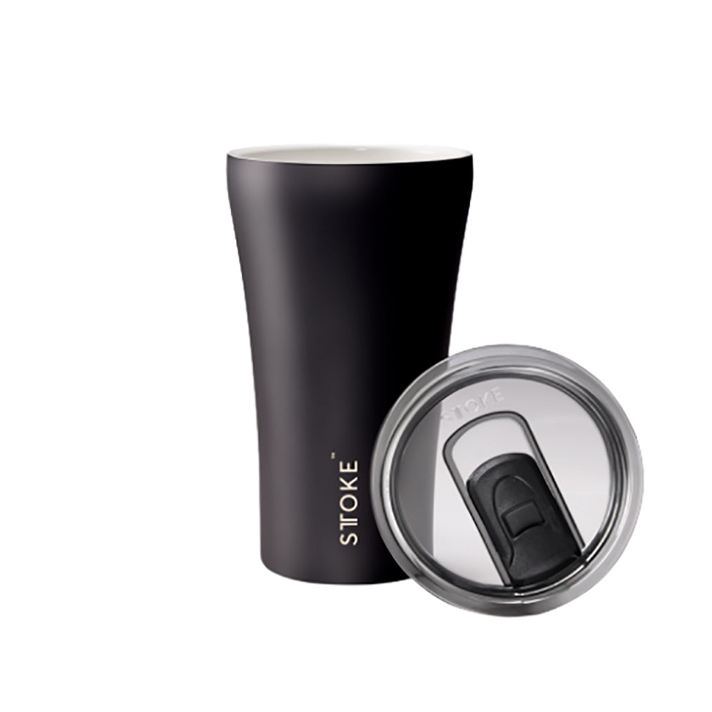Sttoke 340ml Ceramic Reusable Cup Luxe Black