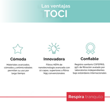 Load image into Gallery viewer, Paquete - Mascarilla Toci® Comfort Pro + 5 meses de filtros