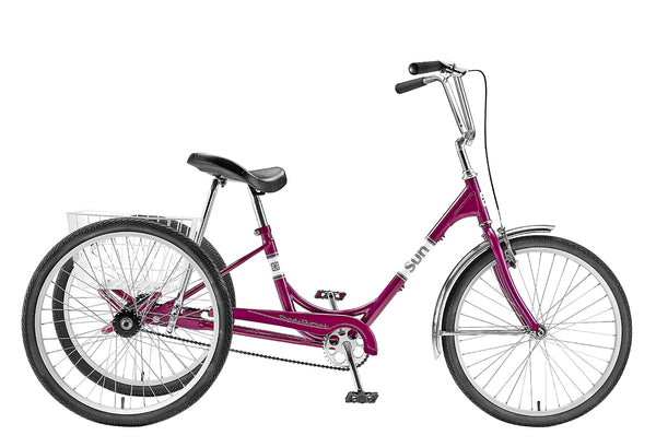 "Sun Traditional Deluxe Adult Tricycle - Single Speed, 24"" wheels."