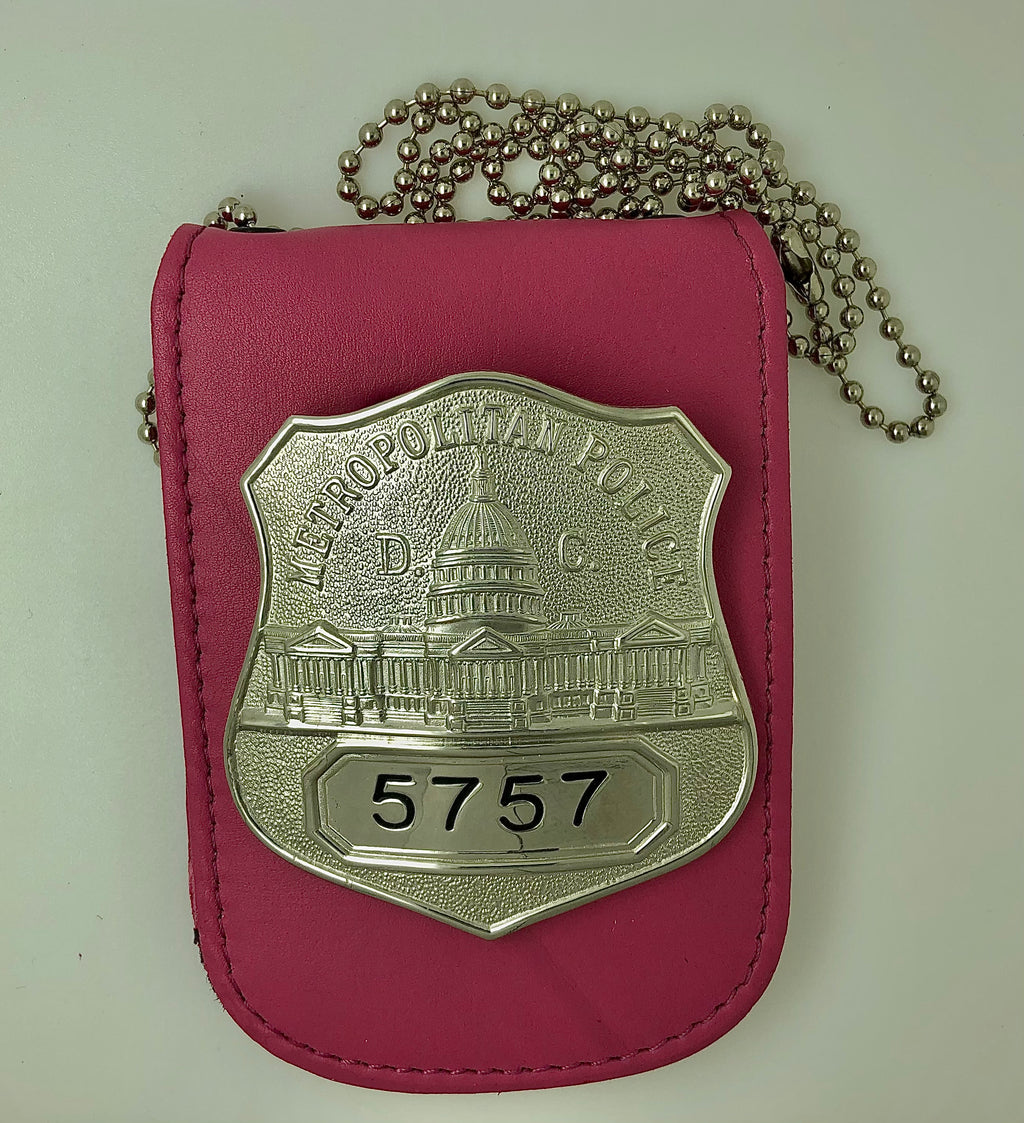 Pink Leather Neck Chain Badge Holder