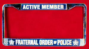 FOP License Plate Frame-Chrome