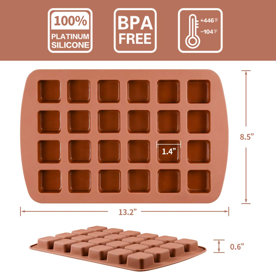 Bite-Size Brownie Silicone Baking Molds - Square Small Brownie Pan 24-Cavity Silicone Molds