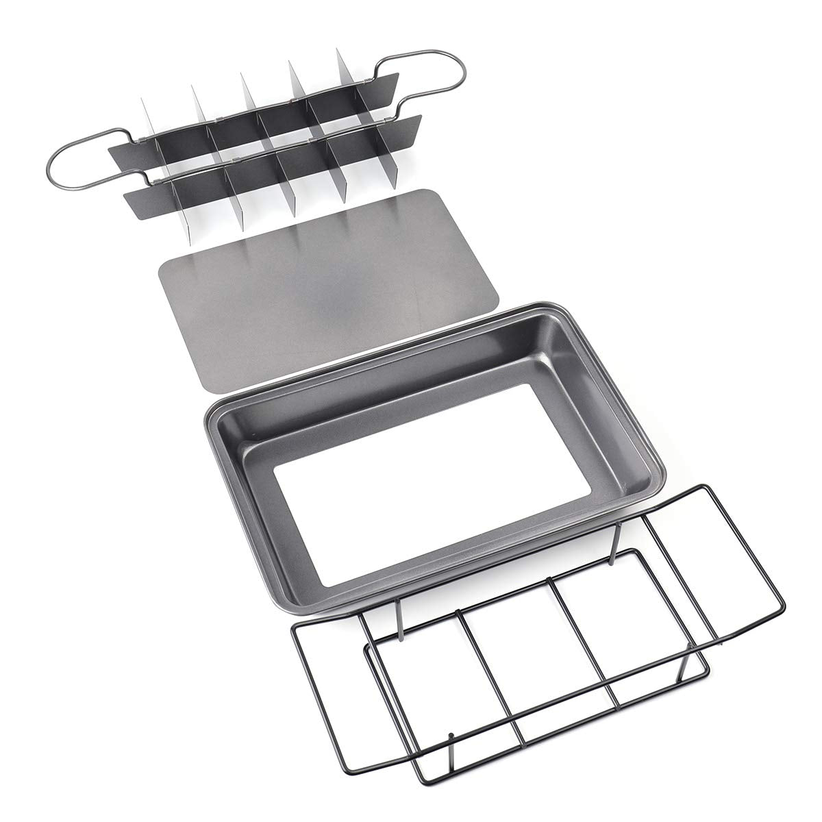 Kingrol Nonstick Brownie Pan, Baking Pan with Built-In Slicer & Rack