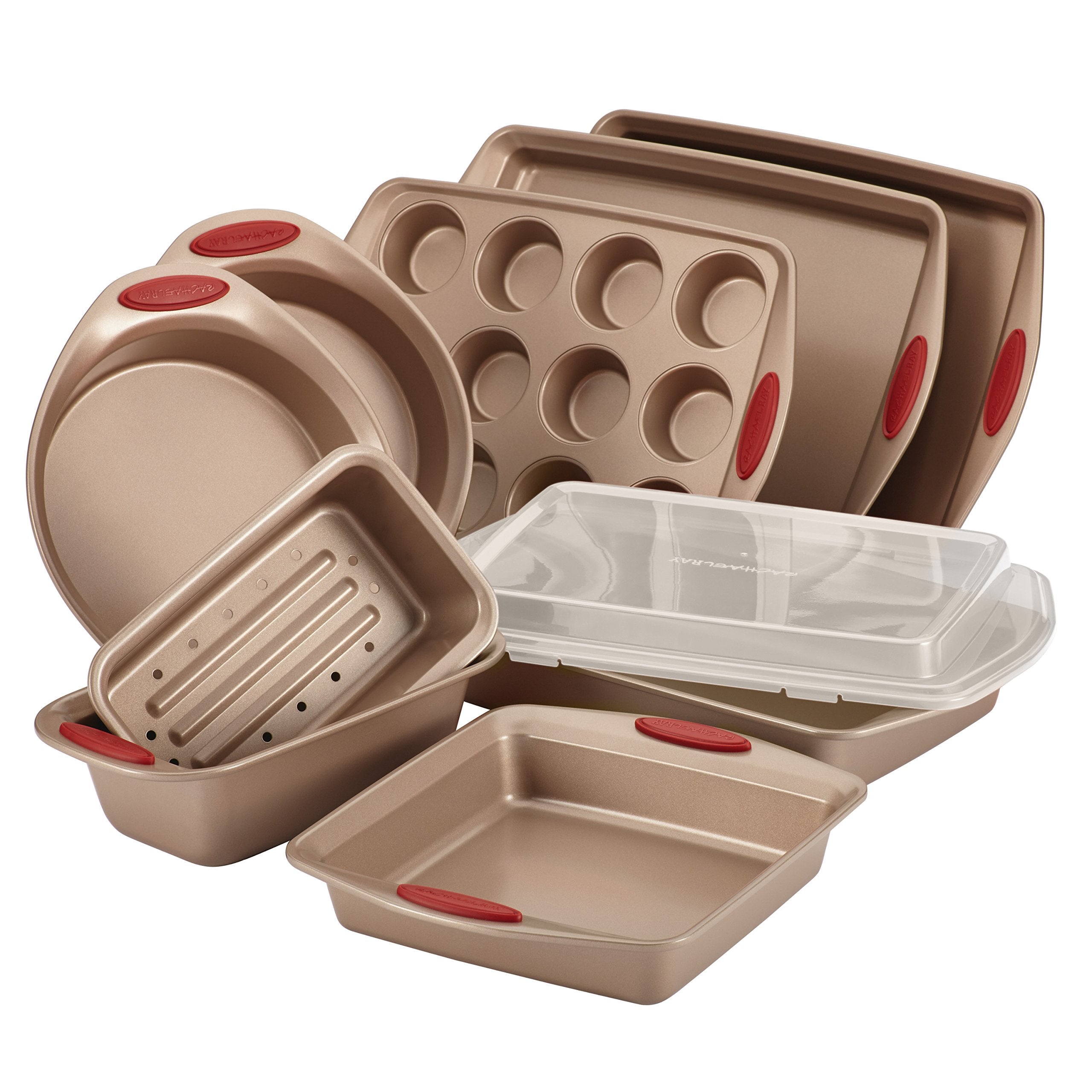 Rachael Ray 52410 Cucina Nonstick Bakeware Set with Baking Pans, Baking Sheets, Cookie Sheets, Cake Pan, Muffin Pan and Bread Pan - 10 Piece, Latte Brown with Cranberry Red Grip