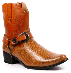 Metrocharm Diego-01 Men's Belt Buckle Chain Strap Western Cowboy Boot