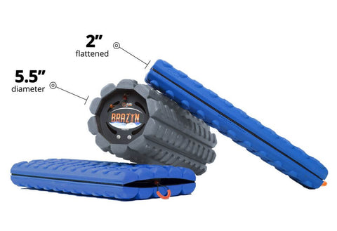 Brazyn Morph Alpga Collapsible Foam Roller layed down open and collapsed with dimensisons