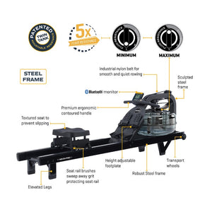 First Degree Fitness Neon Pro V Water Rowing Machine