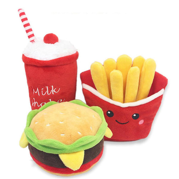 Fleece Pet Chew Toys - The Burger Shop - Pet Cache