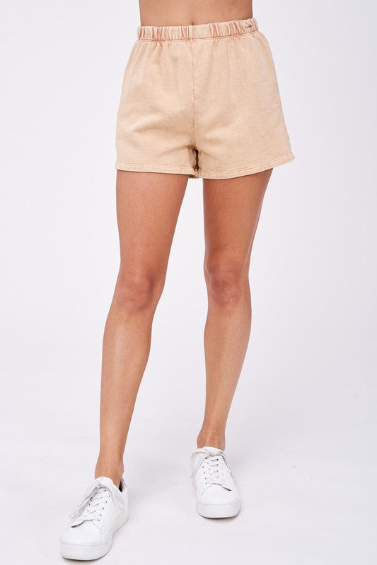 Let's Stay In Sweatshorts- Tan