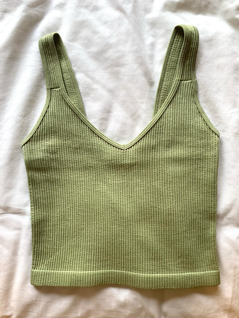 Essential Ribbed Tank- Light Green