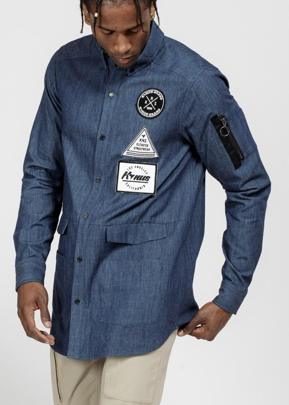 Men's Essential Chambray Button Down Shirt in Indigo by Konus Brand