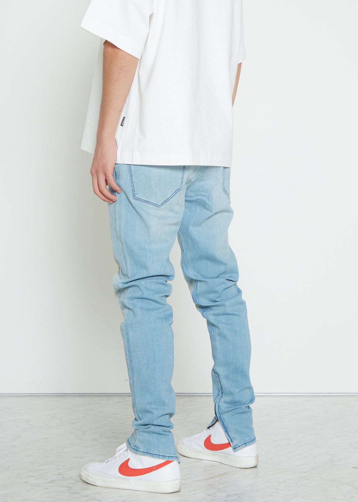 Men's Basic Ankle Zip Denim in Sky Blue by Konus Brand
