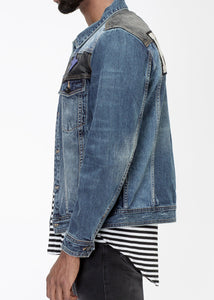 Men's Block Patch Denim Jacket by Konus Brand
