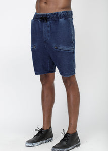 Men's Heavy Denim Knit Shorts in Navy by Konus Brand