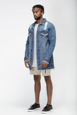 Load image into Gallery viewer, Men's Long Blue Denim Jacket by Konus Brand