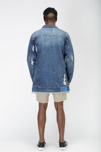 Men's Long Blue Denim Jacket by Konus Brand