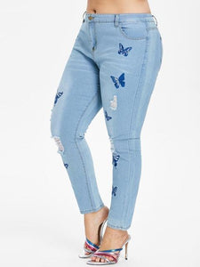 Delave Butterfly Distressed Embroidered Jeans-Light Blue