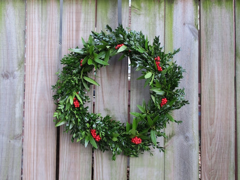 Boxwood and bay with red berries wreath (Saint Louis only)