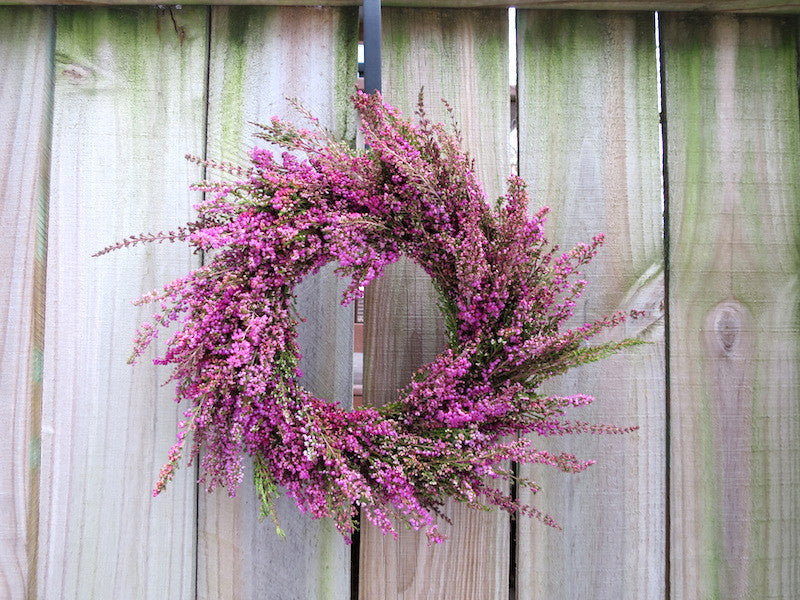 Fresh pink heather wreath