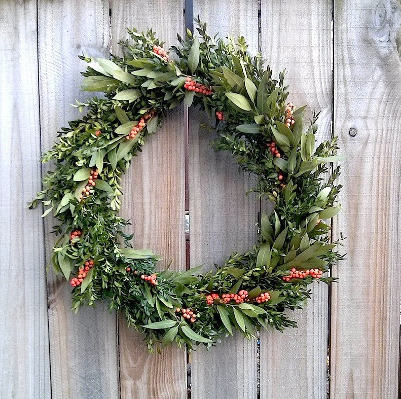 Boxwood and bay with orange berries wreath