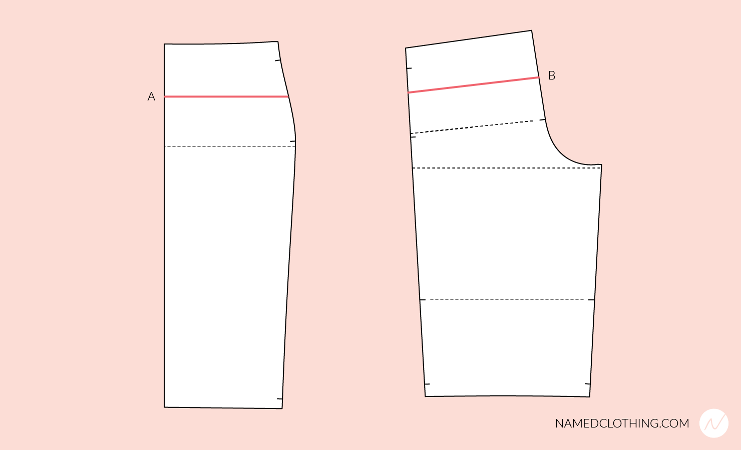 Altering the waist-to-hip length of the pattern