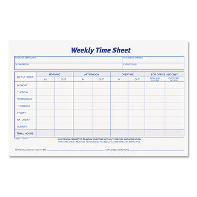 SHEET,TIME WKLY 2PD/PK