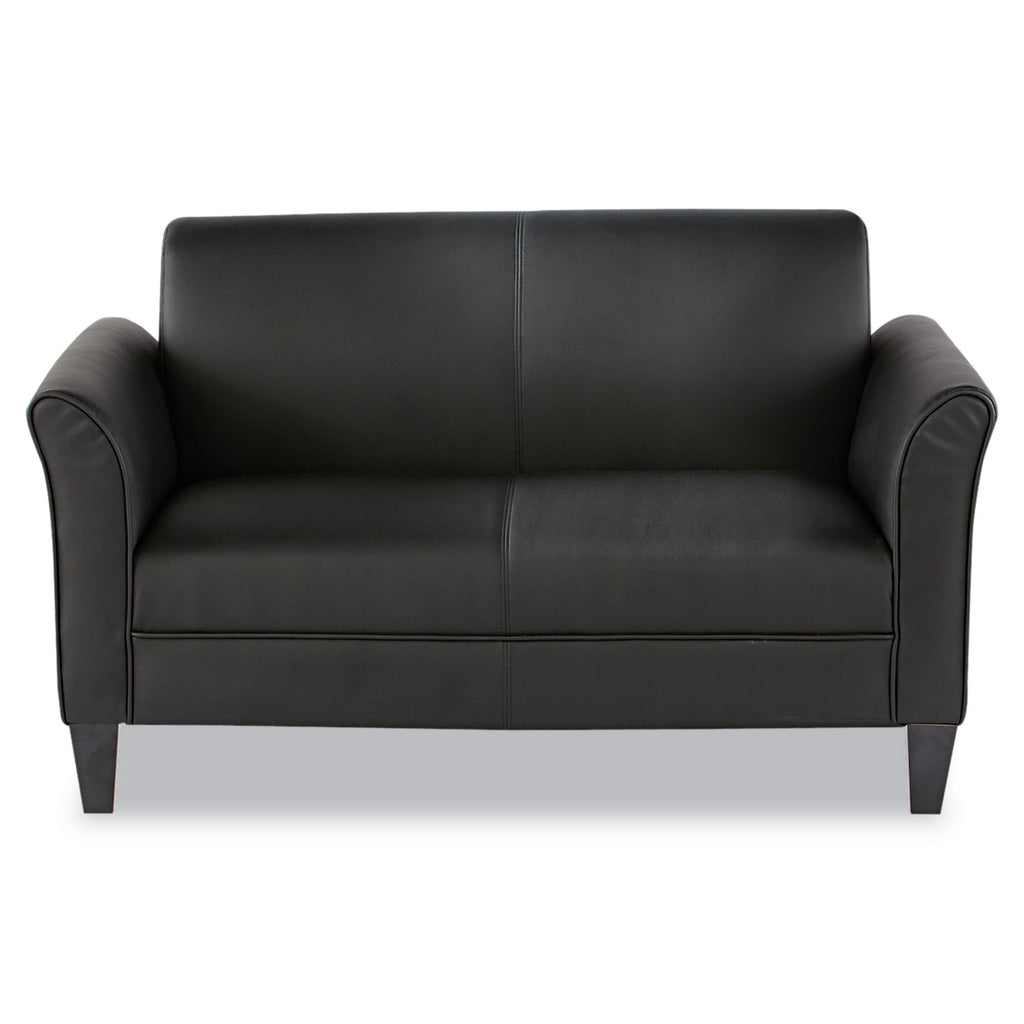 SOFA,LOVESEAT,LEATHER,BK