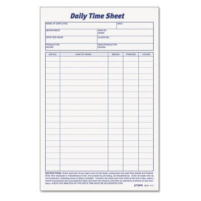 SHEET,DLY TM&JOB 2PD/PK