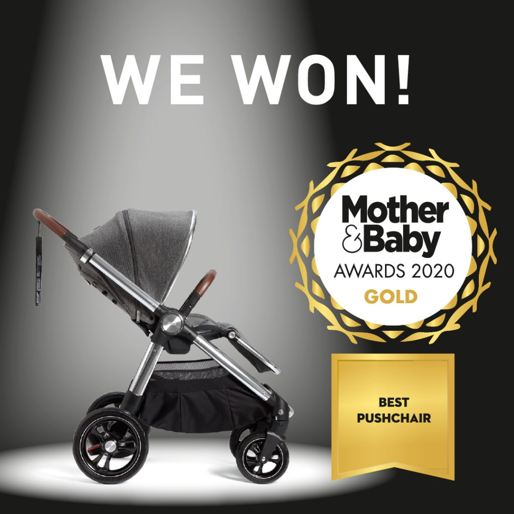 Ocarro award image showing the pushchair and the Mother & Baby gold award logo.