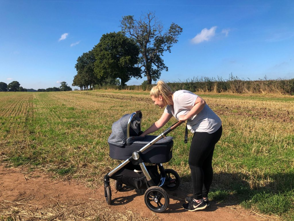Image of Harley pushing the Ocarro Moon pushchair along a dirt track in the middle of a field.