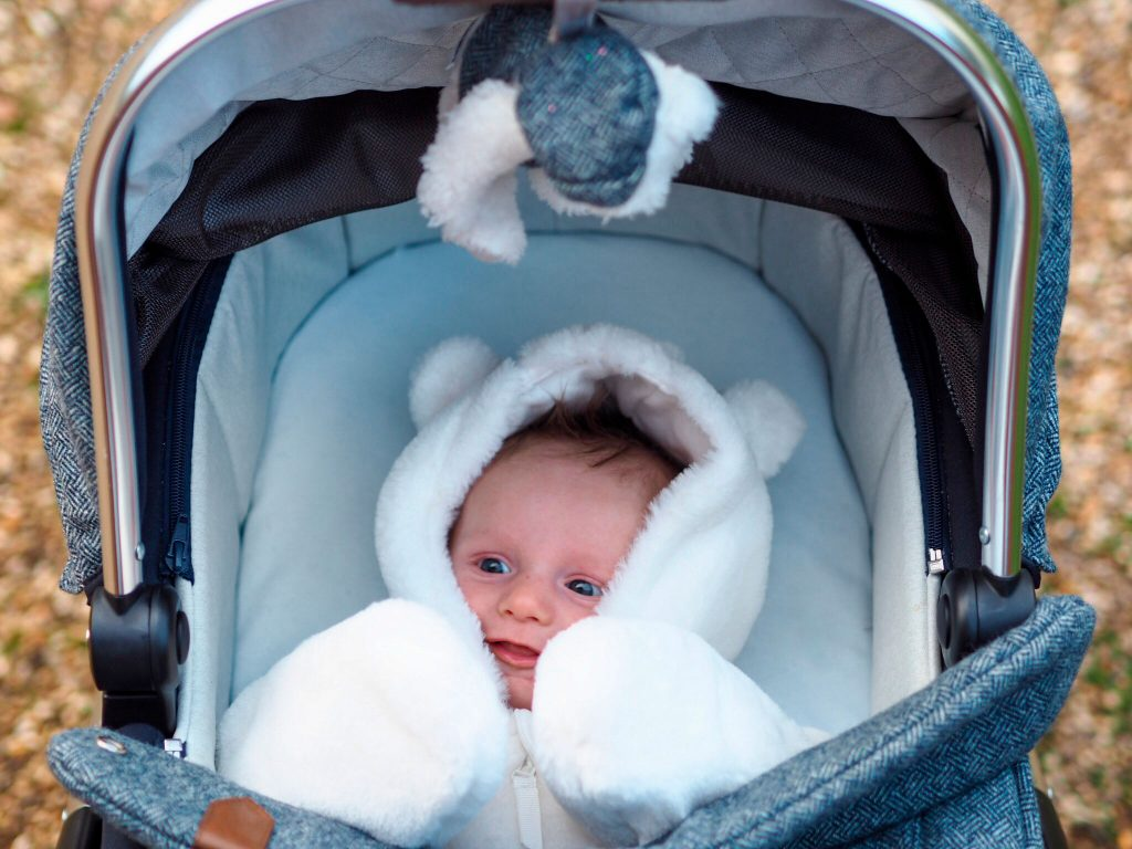 Close up of baby Freddie in the Ocarro Moon carrycot, he is wrapped up in a furry pramsuit.