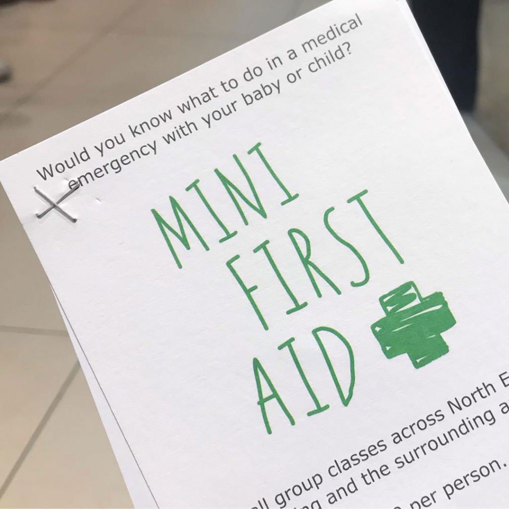An image of a first aid leaflet that was distributed at a Parents to Be event.