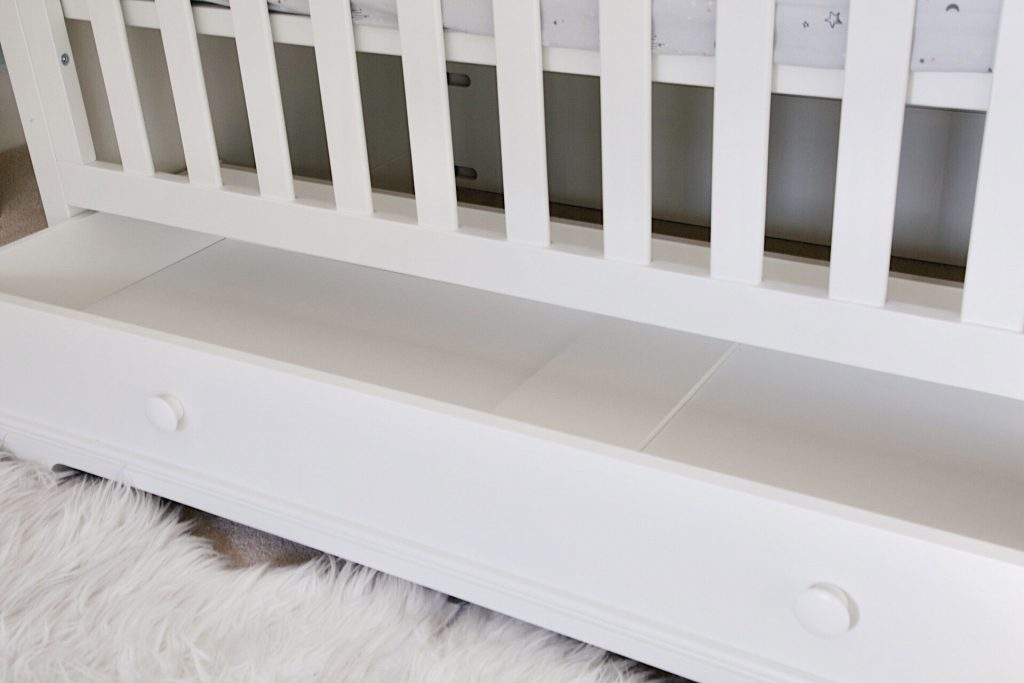 Image of the Oxford cot bed's under bed storage drawer.