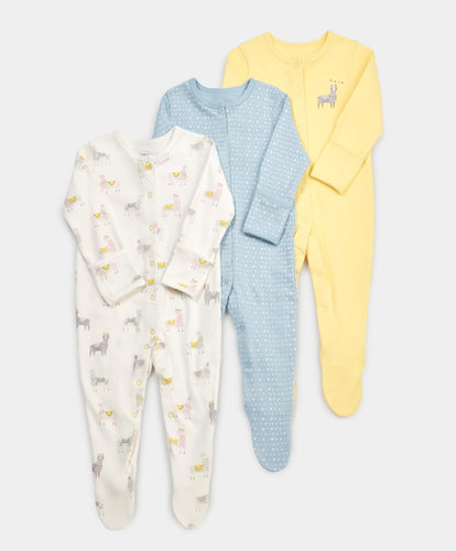 Mamas & Papas Multipacks Llama Sleepsuits - 3 Pack