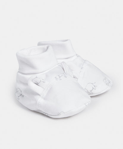 Mamas & Papas Shoes & Booties Printed Jersey Booties - Elephant