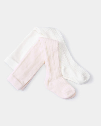 Mamas & Papas Socks & Tights Pointelle Cotton Tights - 2 Pack