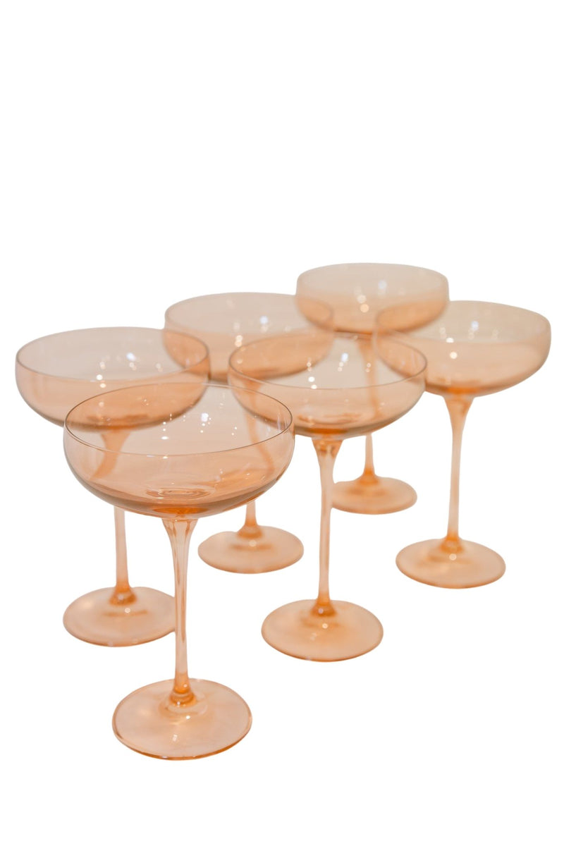 Estelle Colored Champagne Coupe Stemware - Set of 6 (Blush Pink)